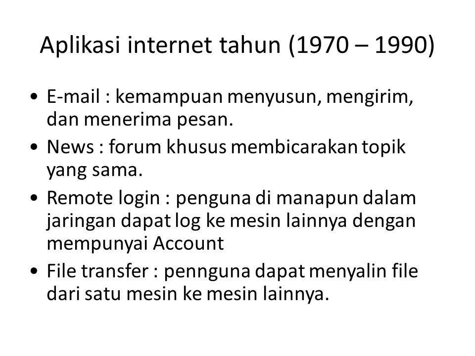 Aplikasi internet tahun (1970 – 1990) E-mail : kemampuan menyusun, mengirim, dan menerima pesan. News : forum khusus membicarakan topik yang sama. Rem