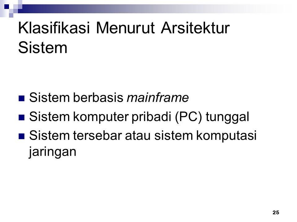 25 Klasifikasi Menurut Arsitektur Sistem Sistem berbasis mainframe Sistem komputer pribadi (PC) tunggal Sistem tersebar atau sistem komputasi jaringan