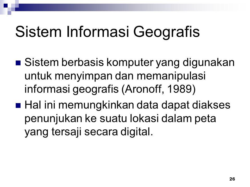 26 Sistem Informasi Geografis Sistem berbasis komputer yang digunakan untuk menyimpan dan memanipulasi informasi geografis (Aronoff, 1989) Hal ini mem