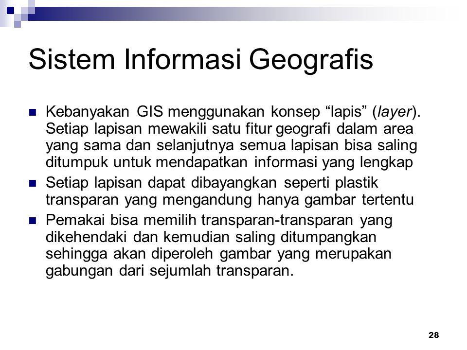 """28 Sistem Informasi Geografis Kebanyakan GIS menggunakan konsep """"lapis"""" (layer). Setiap lapisan mewakili satu fitur geografi dalam area yang sama dan"""