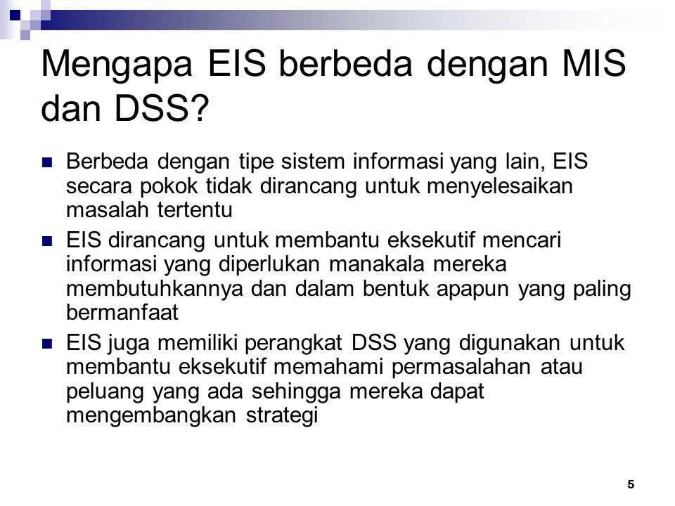 5 Mengapa EIS berbeda dengan MIS dan DSS? Berbeda dengan tipe sistem informasi yang lain, EIS secara pokok tidak dirancang untuk menyelesaikan masalah