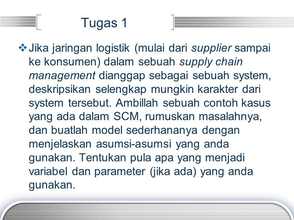 Tugas 1  Jika jaringan logistik (mulai dari supplier sampai ke konsumen) dalam sebuah supply chain management dianggap sebagai sebuah system, deskripsikan selengkap mungkin karakter dari system tersebut.
