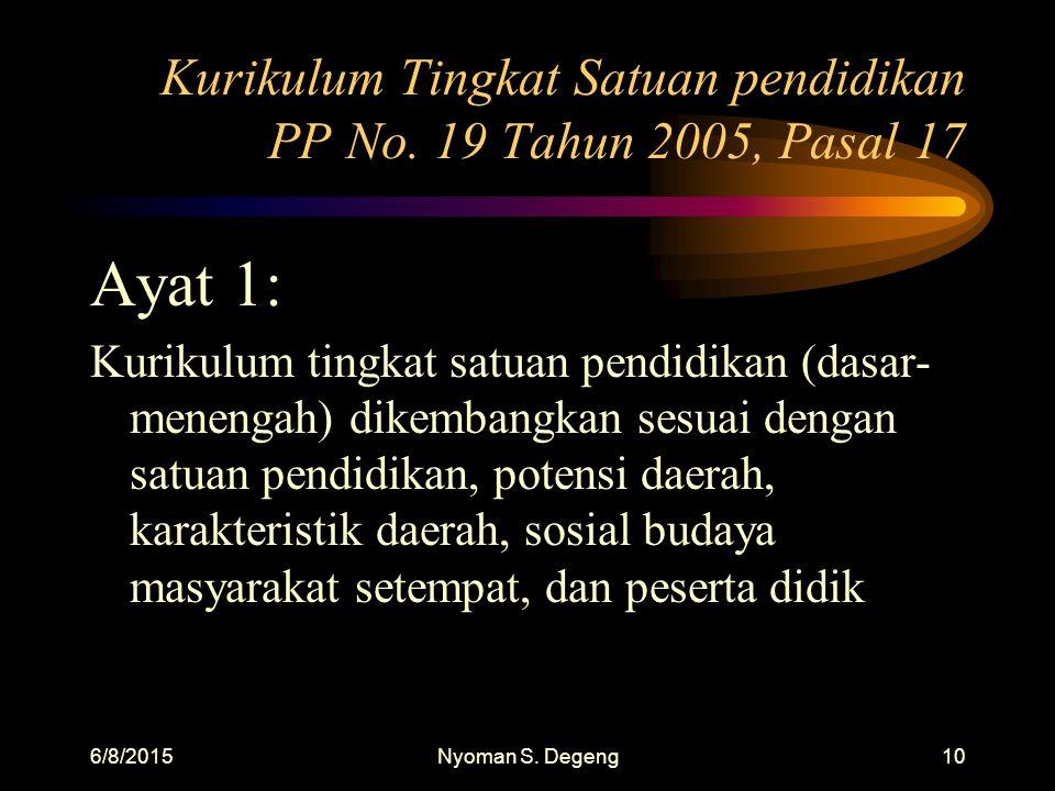 6/8/2015Nyoman S. Degeng9 Pengembangan Kurikulum UU Sisdiknas, No. 20, 2003 Pasal 38, ayat 2 Kurikulum dikdasmen dikembangkan sesuai dengan relevansin