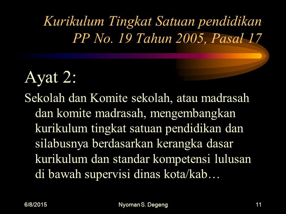 6/8/2015Nyoman S. Degeng10 Kurikulum Tingkat Satuan pendidikan PP No. 19 Tahun 2005, Pasal 17 Ayat 1: Kurikulum tingkat satuan pendidikan (dasar- mene