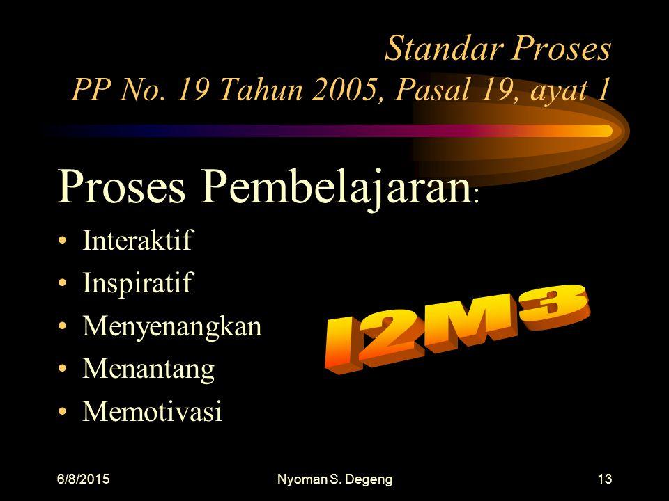 6/8/2015Nyoman S.Degeng12 Standar Proses PP No.