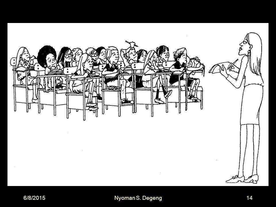 6/8/2015Nyoman S. Degeng13 Standar Proses PP No. 19 Tahun 2005, Pasal 19, ayat 1 Proses Pembelajaran : Interaktif Inspiratif Menyenangkan Menantang Me