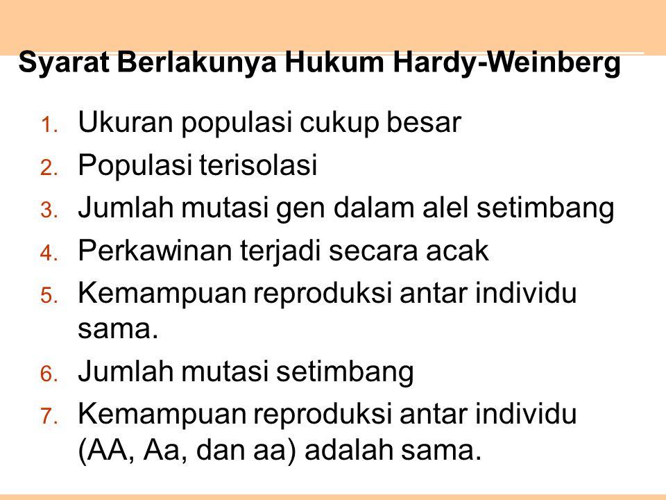 Syarat Berlakunya Hukum Hardy-Weinberg 1.Ukuran populasi cukup besar 2.