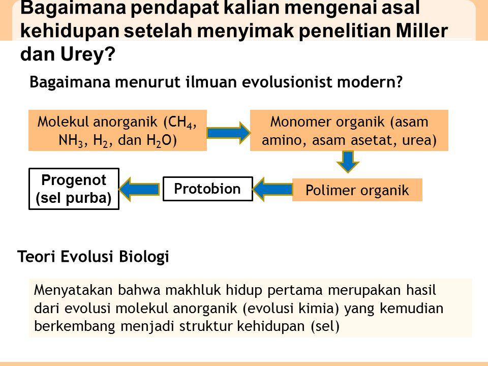 Bagaimana pendapat kalian mengenai asal kehidupan setelah menyimak penelitian Miller dan Urey.