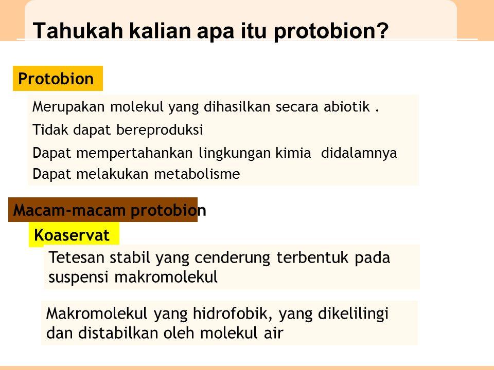 Macam-macam protobion Koaservat Tetesan stabil yang cenderung terbentuk pada suspensi makromolekul Makromolekul yang hidrofobik, yang dikelilingi dan distabilkan oleh molekul air Tahukah kalian apa itu protobion.