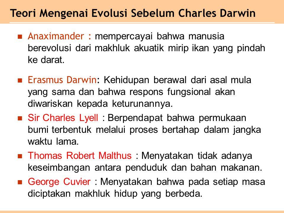 Anaximander : mempercayai bahwa manusia berevolusi dari makhluk akuatik mirip ikan yang pindah ke darat.