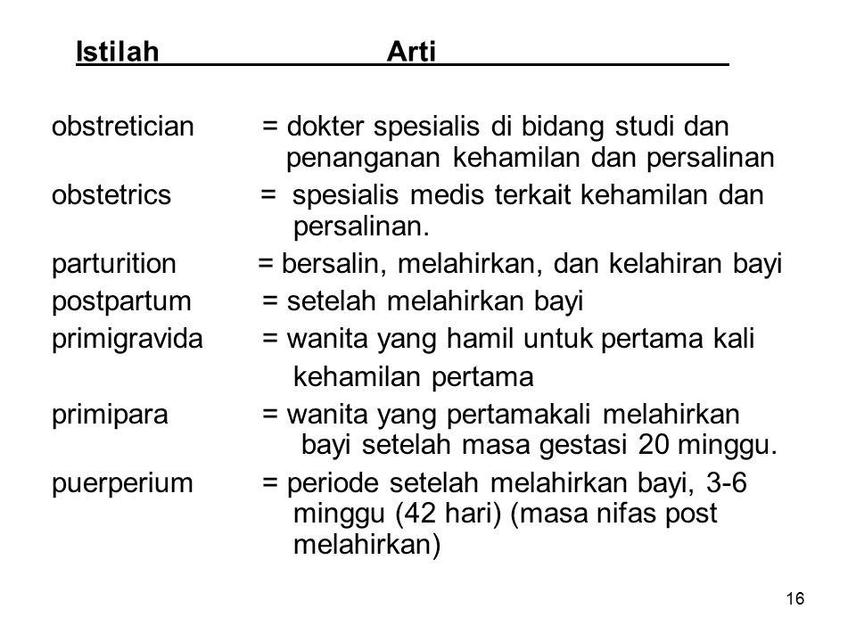 16 IstilahArti obstretician = dokter spesialis di bidang studi dan penanganan kehamilan dan persalinan obstetrics = spesialis medis terkait kehamilan