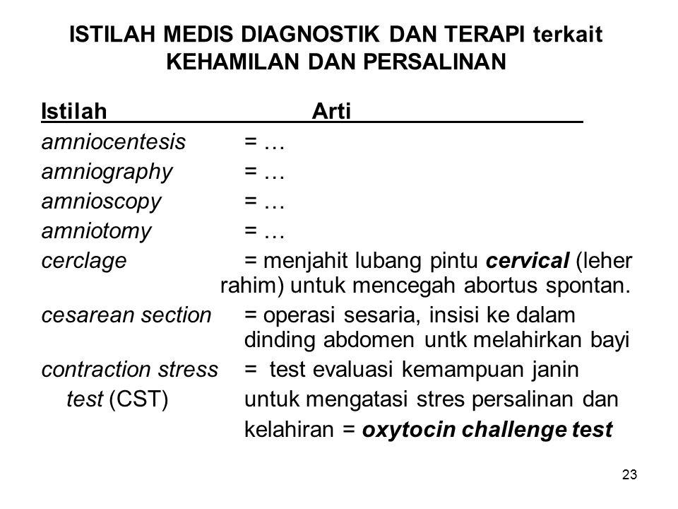 23 ISTILAH MEDIS DIAGNOSTIK DAN TERAPI terkait KEHAMILAN DAN PERSALINAN IstilahArti amniocentesis= … amniography= … amnioscopy= … amniotomy= … cerclag