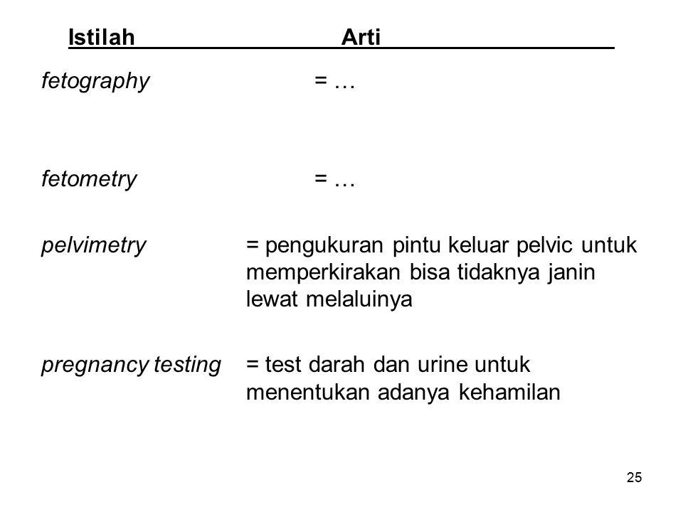 25 IstilahArti fetography= … fetometry= … pelvimetry= pengukuran pintu keluar pelvic untuk memperkirakan bisa tidaknya janin lewat melaluinya pregnanc
