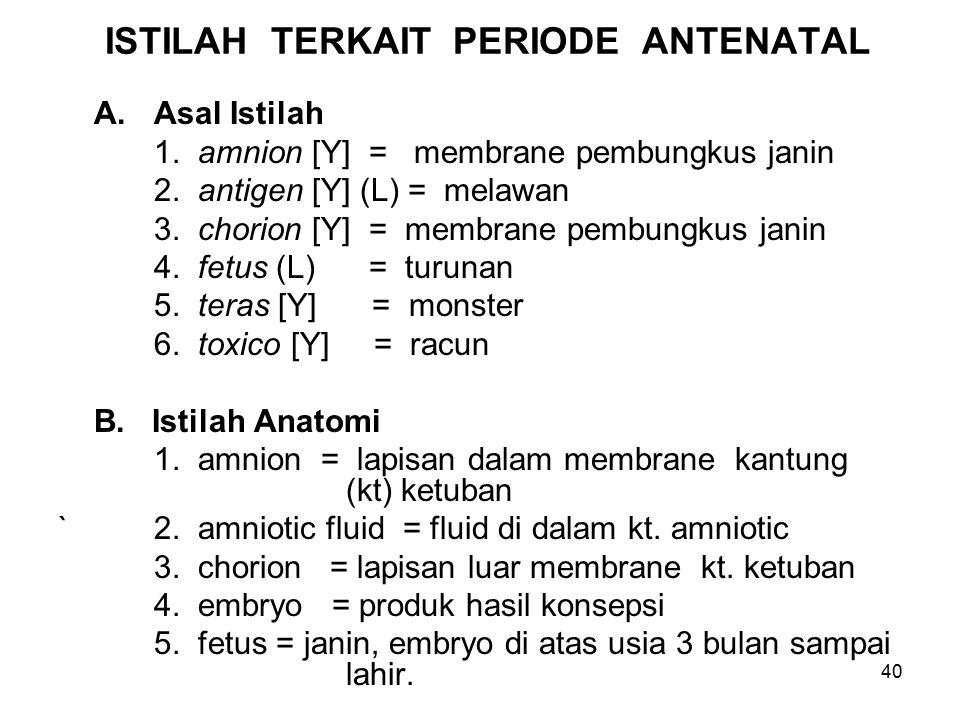 40 ISTILAH TERKAIT PERIODE ANTENATAL A.Asal Istilah 1. amnion [Y] = membrane pembungkus janin 2. antigen [Y] (L) = melawan 3. chorion [Y] = membrane p