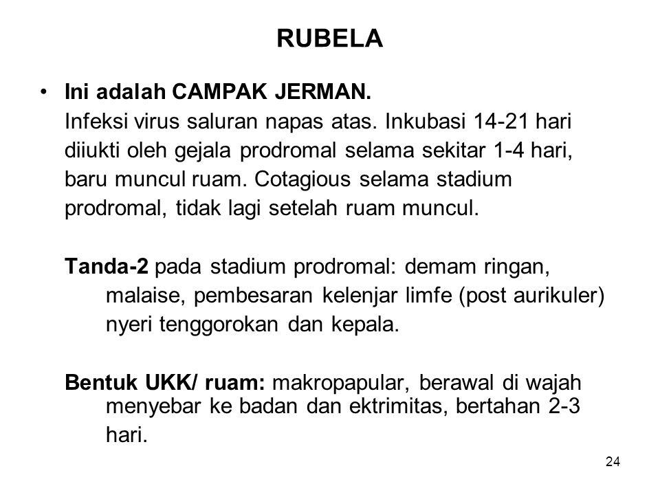 24 RUBELA Ini adalah CAMPAK JERMAN. Infeksi virus saluran napas atas. Inkubasi 14-21 hari diiukti oleh gejala prodromal selama sekitar 1-4 hari, baru