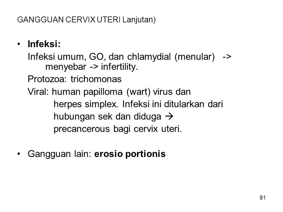 91 GANGGUAN CERVIX UTERI Lanjutan) Infeksi: Infeksi umum, GO, dan chlamydial (menular) -> menyebar -> infertility. Protozoa: trichomonas Viral: human