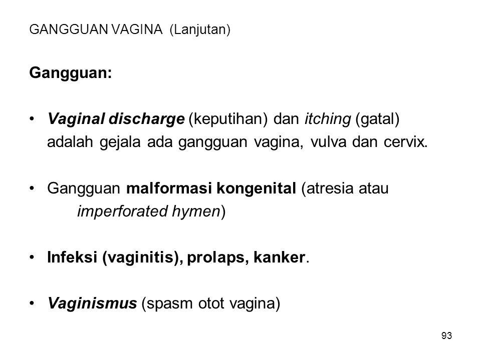 93 GANGGUAN VAGINA (Lanjutan) Gangguan: Vaginal discharge (keputihan) dan itching (gatal) adalah gejala ada gangguan vagina, vulva dan cervix. Ganggua