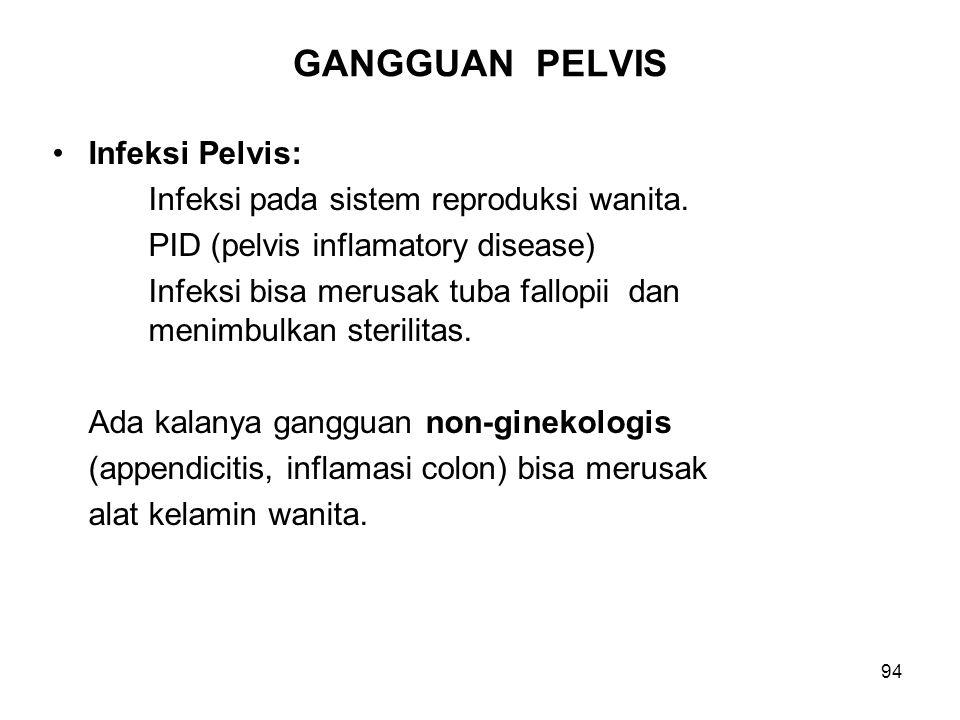 94 GANGGUAN PELVIS Infeksi Pelvis: Infeksi pada sistem reproduksi wanita. PID (pelvis inflamatory disease) Infeksi bisa merusak tuba fallopii dan meni