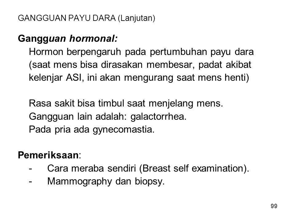 99 GANGGUAN PAYU DARA (Lanjutan) Gangguan hormonal: Hormon berpengaruh pada pertumbuhan payu dara (saat mens bisa dirasakan membesar, padat akibat kel