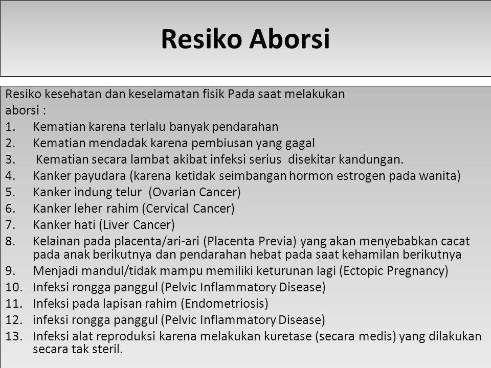 Resiko Aborsi Resiko kesehatan dan keselamatan fisik Pada saat melakukan aborsi : 1.Kematian karena terlalu banyak pendarahan 2.Kematian mendadak karena pembiusan yang gagal 3.
