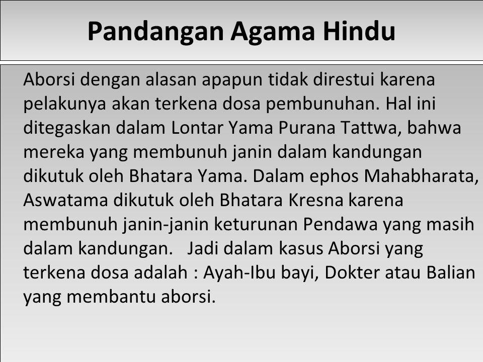 Pandangan Agama Hindu Aborsi dengan alasan apapun tidak direstui karena pelakunya akan terkena dosa pembunuhan.