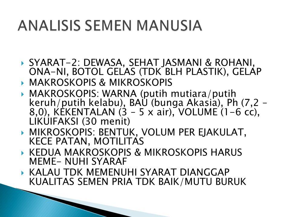  SYARAT-2: DEWASA, SEHAT JASMANI & ROHANI, ONA-NI, BOTOL GELAS (TDK BLH PLASTIK), GELAP  MAKROSKOPIS & MIKROSKOPIS  MAKROSKOPIS: WARNA (putih mutiara/putih keruh/putih kelabu), BAU (bunga Akasia), Ph (7,2 – 8,0), KEKENTALAN (3 – 5 x air), VOLUME (1-6 cc), LIKUIFAKSI (30 menit)  MIKROSKOPIS: BENTUK, VOLUM PER EJAKULAT, KECE PATAN, MOTILITAS  KEDUA MAKROSKOPIS & MIKROSKOPIS HARUS MEME- NUHI SYARAF  KALAU TDK MEMENUHI SYARAT DIANGGAP KUALITAS SEMEN PRIA TDK BAIK/MUTU BURUK