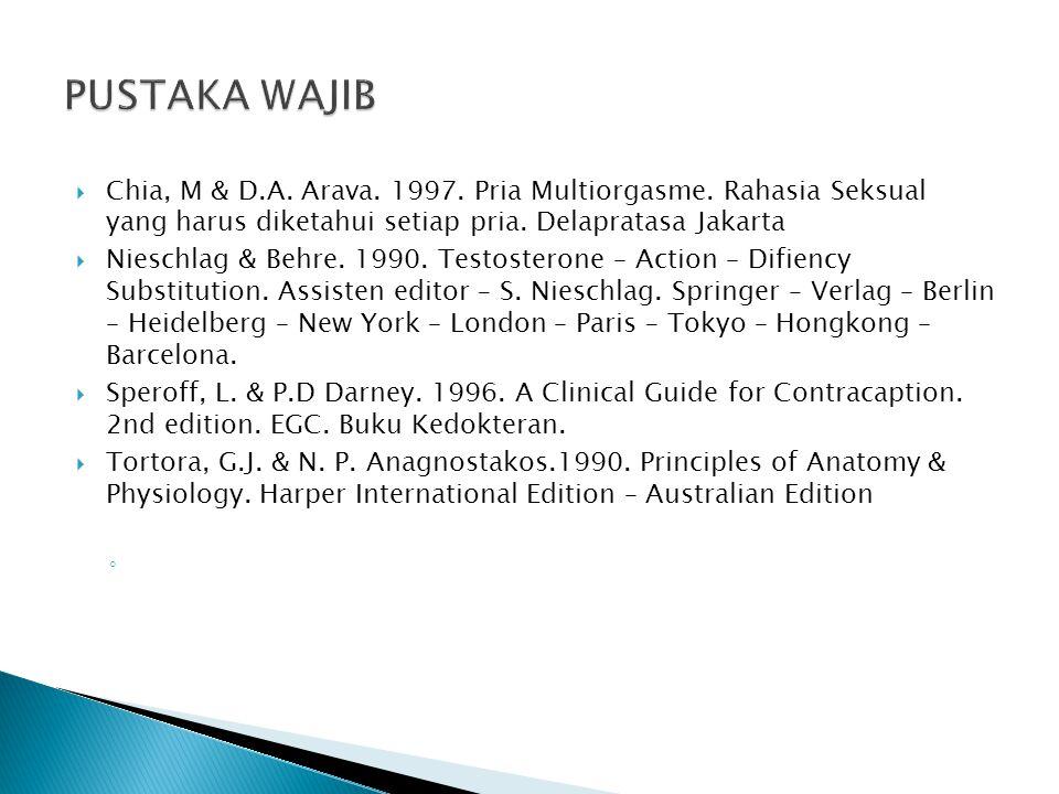  Chia, M & D.A. Arava. 1997. Pria Multiorgasme.