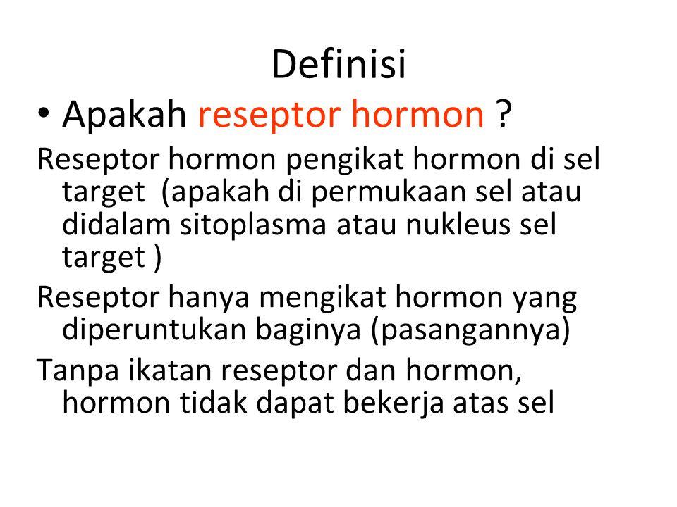 Mekanisme Aksi Hormon: Reseptor Agar hormon dapat melakukan aktivitasnya didalam sel, maka sel harus mempunyai reseptor untuk hormon dimaksud.