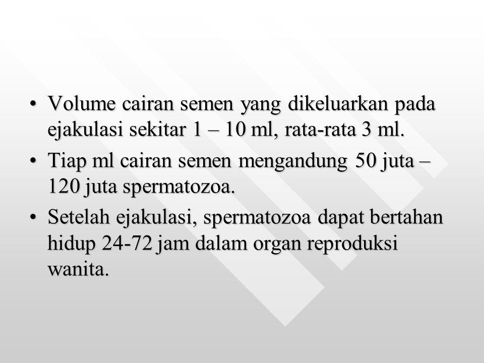 Volume cairan semen yang dikeluarkan pada ejakulasi sekitar 1 – 10 ml, rata-rata 3 ml.Volume cairan semen yang dikeluarkan pada ejakulasi sekitar 1 –