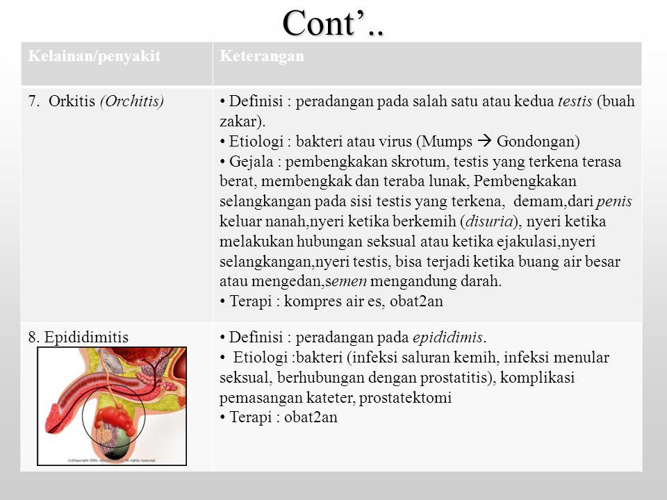 Cont'.. Kelainan/penyakitKeterangan 7. Orkitis (Orchitis) Definisi : peradangan pada salah satu atau kedua testis (buah zakar). Etiologi : bakteri ata