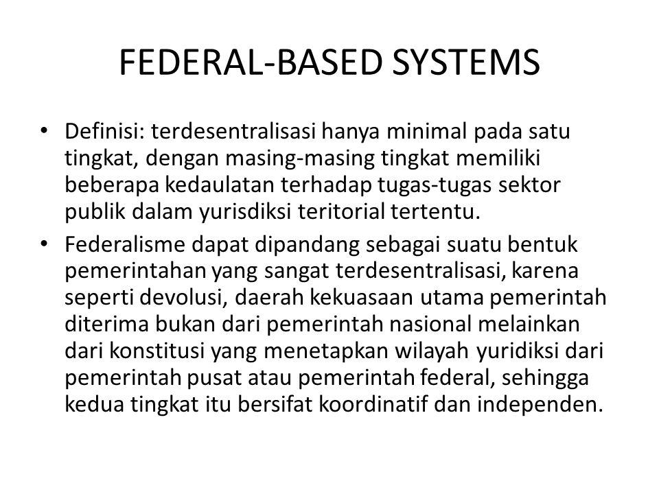 FEDERAL-BASED SYSTEMS Definisi: terdesentralisasi hanya minimal pada satu tingkat, dengan masing-masing tingkat memiliki beberapa kedaulatan terhadap
