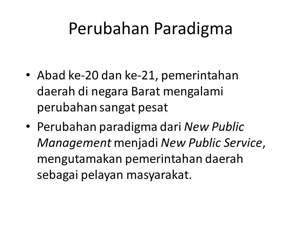 Perubahan Paradigma Abad ke-20 dan ke-21, pemerintahan daerah di negara Barat mengalami perubahan sangat pesat Perubahan paradigma dari New Public Man