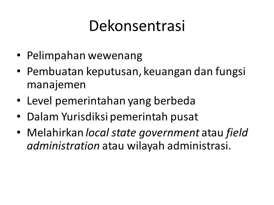 Dekonsentrasi Pelimpahan wewenang Pembuatan keputusan, keuangan dan fungsi manajemen Level pemerintahan yang berbeda Dalam Yurisdiksi pemerintah pusat