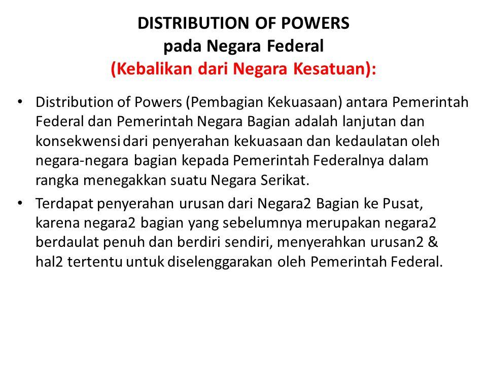 DISTRIBUTION OF POWERS pada Negara Federal (Kebalikan dari Negara Kesatuan): Distribution of Powers (Pembagian Kekuasaan) antara Pemerintah Federal da