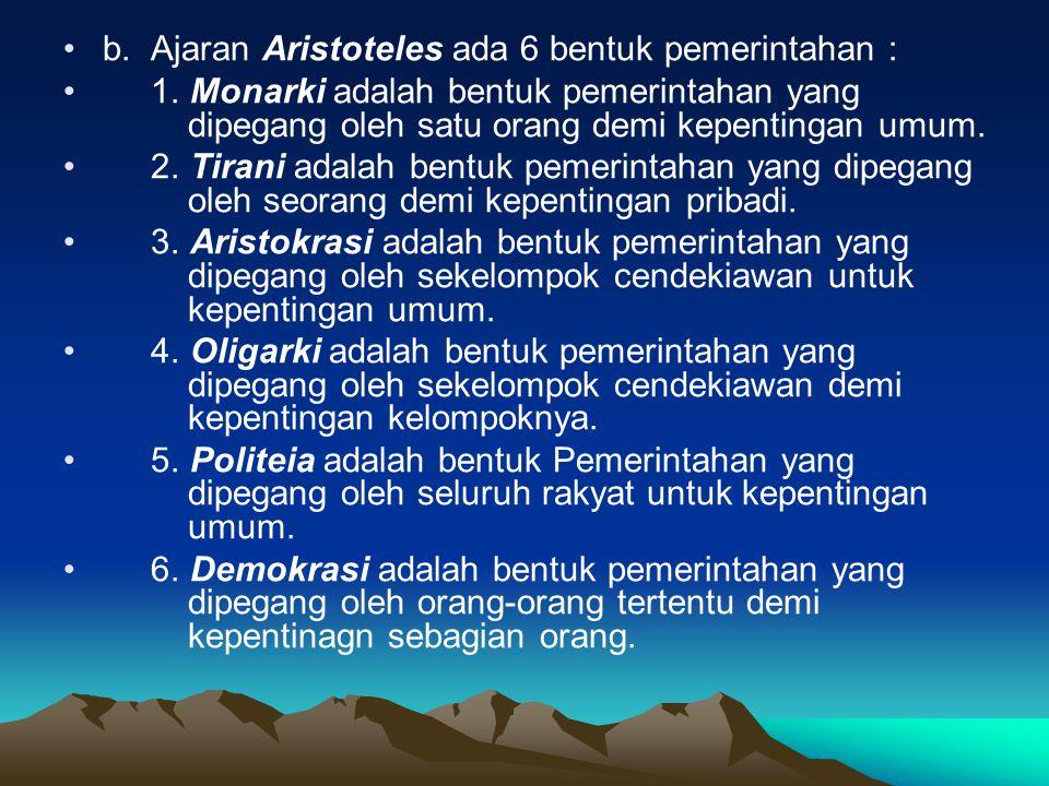2. BENTUK PEMERINTAHAN KLASIK a. Ajaran Plato ada 5 bentuk pemerintahan : 1. Aristokrasi adalah bentuk pemerintahan yang dipegang oleh kaum cendekiawa
