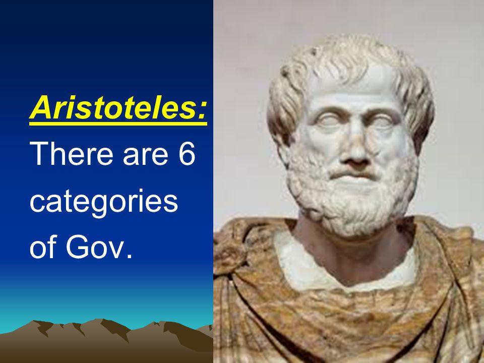 b. Ajaran Aristoteles ada 6 bentuk pemerintahan : 1. Monarki adalah bentuk pemerintahan yang dipegang oleh satu orang demi kepentingan umum. 2. Tirani
