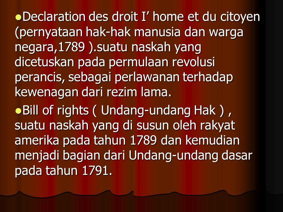 Hak – hak dasar manusia dapat berkurang karena : 1.