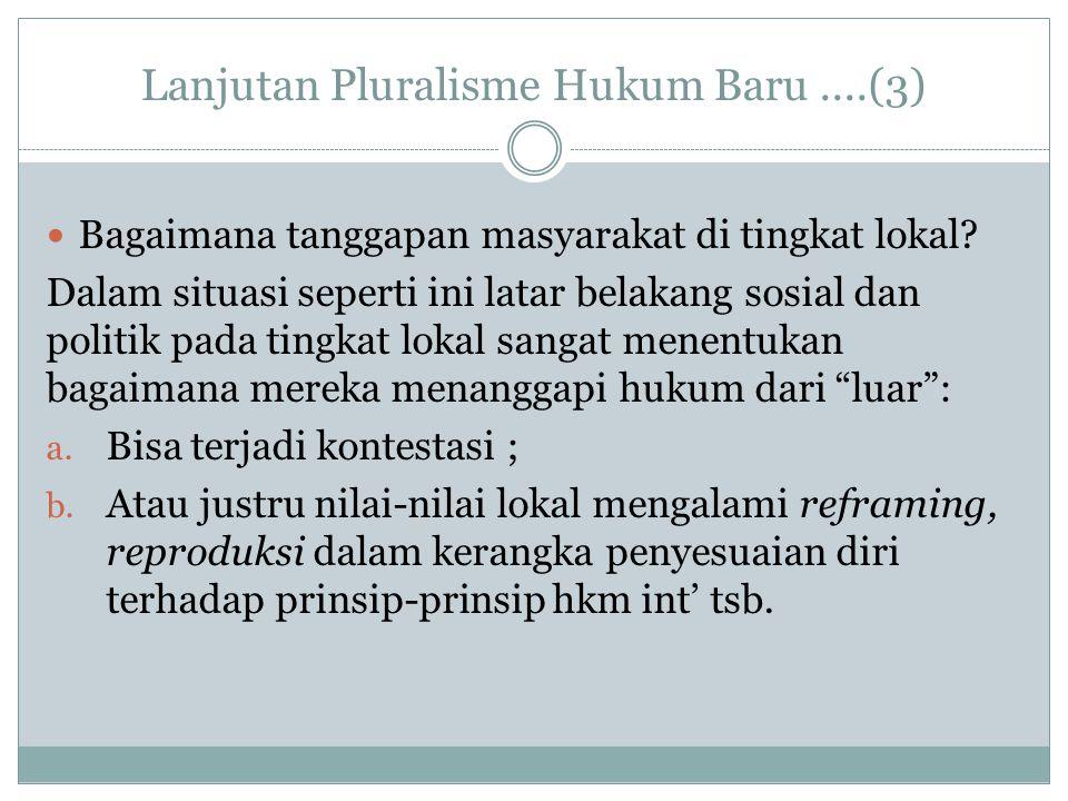 Lanjutan Pluralisme Hukum Baru....(3) Bagaimana tanggapan masyarakat di tingkat lokal? Dalam situasi seperti ini latar belakang sosial dan politik pad