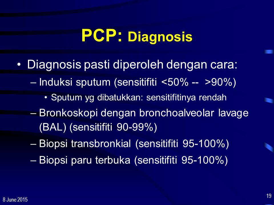 8 June 2015 19 PCP: Diagnosis Diagnosis pasti diperoleh dengan cara: –Induksi sputum (sensitifiti 90%) Sputum yg dibatukkan: sensitifitinya rendah –Br