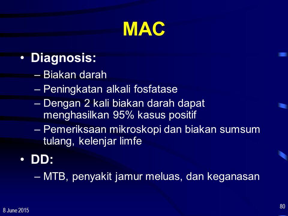 8 June 2015 80 MAC Diagnosis: –Biakan darah –Peningkatan alkali fosfatase –Dengan 2 kali biakan darah dapat menghasilkan 95% kasus positif –Pemeriksaa