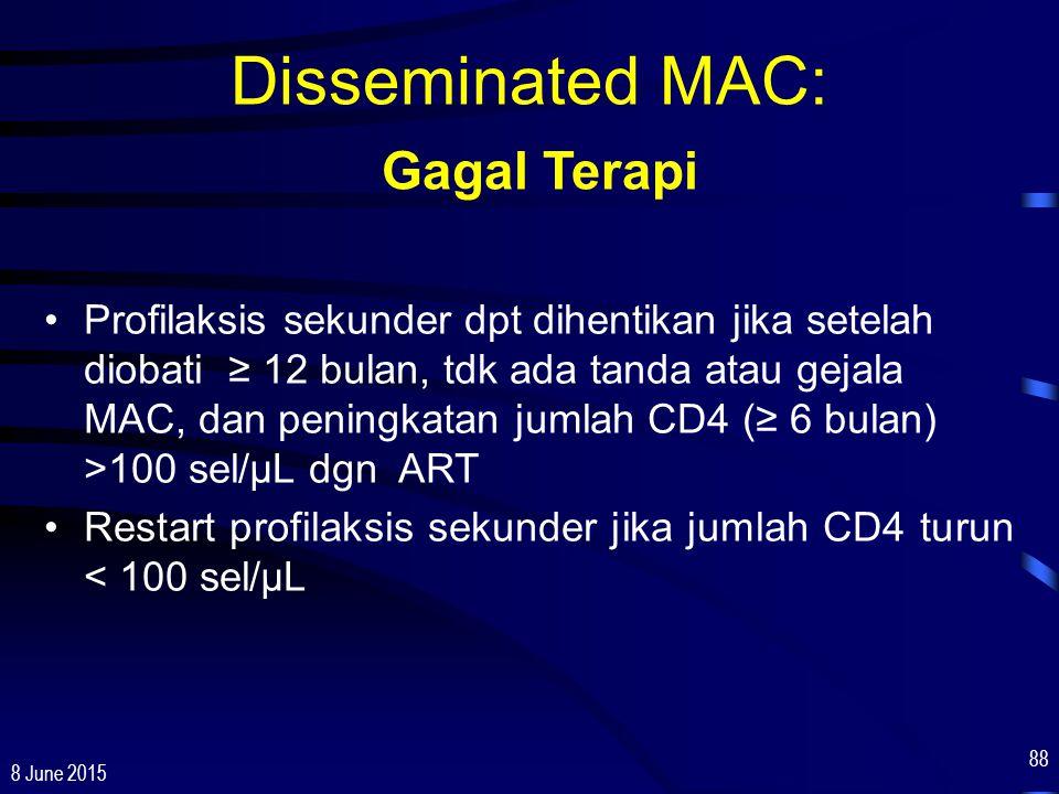 8 June 2015 88 Disseminated MAC: Gagal Terapi Profilaksis sekunder dpt dihentikan jika setelah diobati ≥ 12 bulan, tdk ada tanda atau gejala MAC, dan