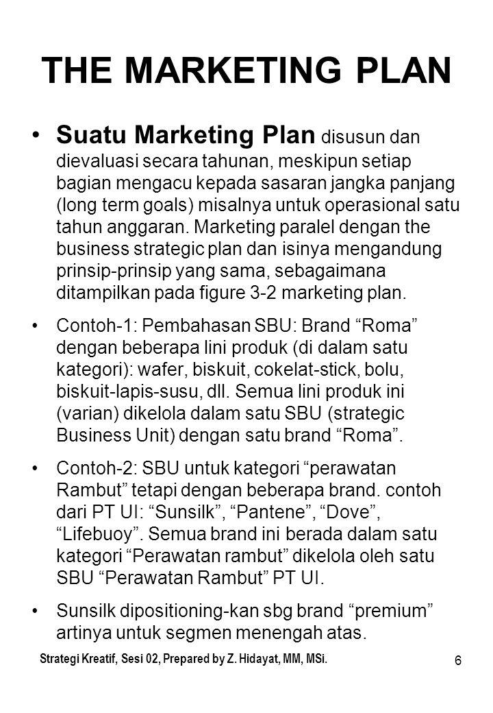 6 THE MARKETING PLAN Suatu Marketing Plan disusun dan dievaluasi secara tahunan, meskipun setiap bagian mengacu kepada sasaran jangka panjang (long te