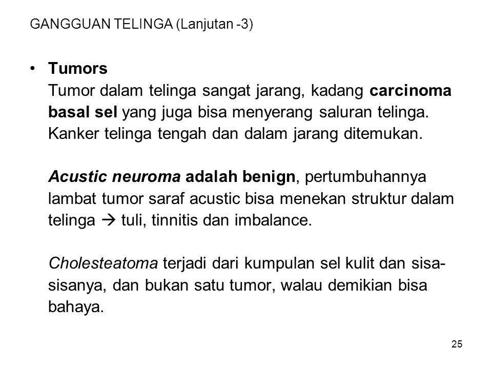 26 GANGGUAN TELINGA (Lanjutan -4) Obstruksi: Obstruksi saluran telinga utamanya karena kotoran telinga yang mengeras, bisa juga akibat otitis eksterna.