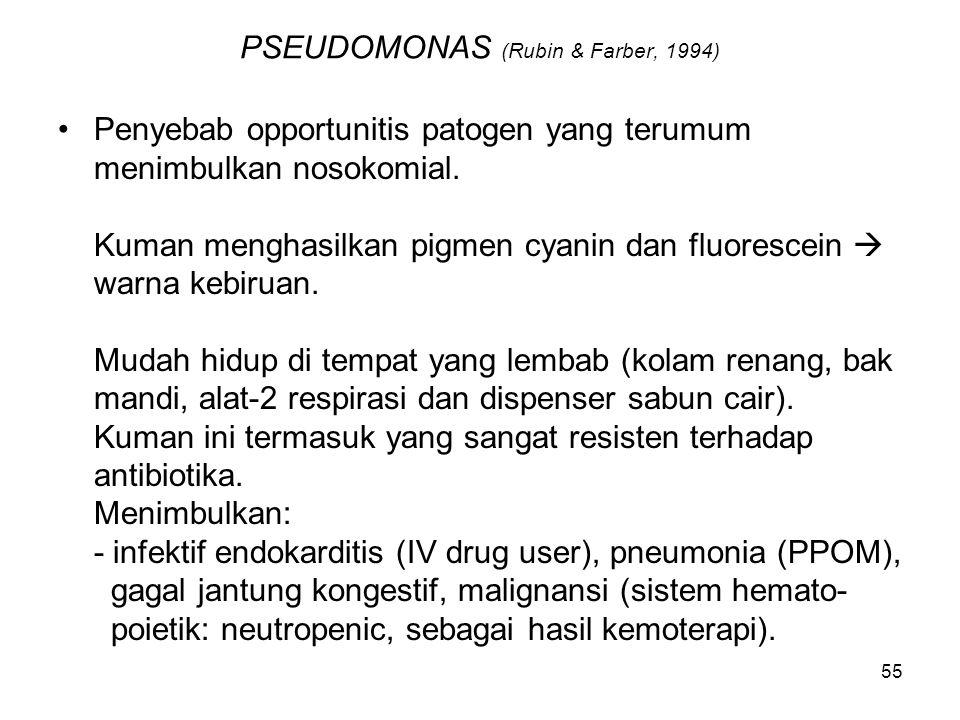 56 Pseudomonas (Rubin & Farber, 1994) Infeksi CNS (meningitis dan abses otak) (bisa lewat trauma kapitis) - Telinga, mata dan saluran kemih, gastro-intestinal, kulit dan jaringan lunak, infeksi tulang dan persendian (akibat penyebaran hematogen).