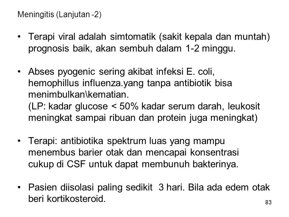 84 ABSES OTAK Terjadi akibat infeksi lokal pada otak.