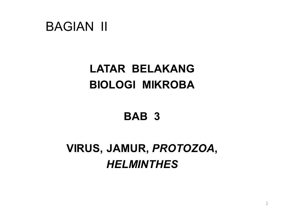 BAGIAN II LATAR BELAKANG BIOLOGI MIKROBA BAB 3 VIRUS, JAMUR, PROTOZOA, HELMINTHES 2