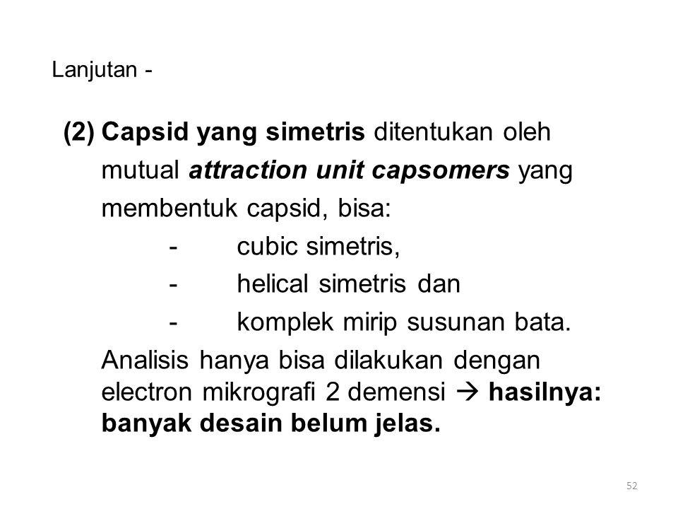 Lanjutan - (2)Capsid yang simetris ditentukan oleh mutual attraction unit capsomers yang membentuk capsid, bisa: -cubic simetris, -helical simetris da