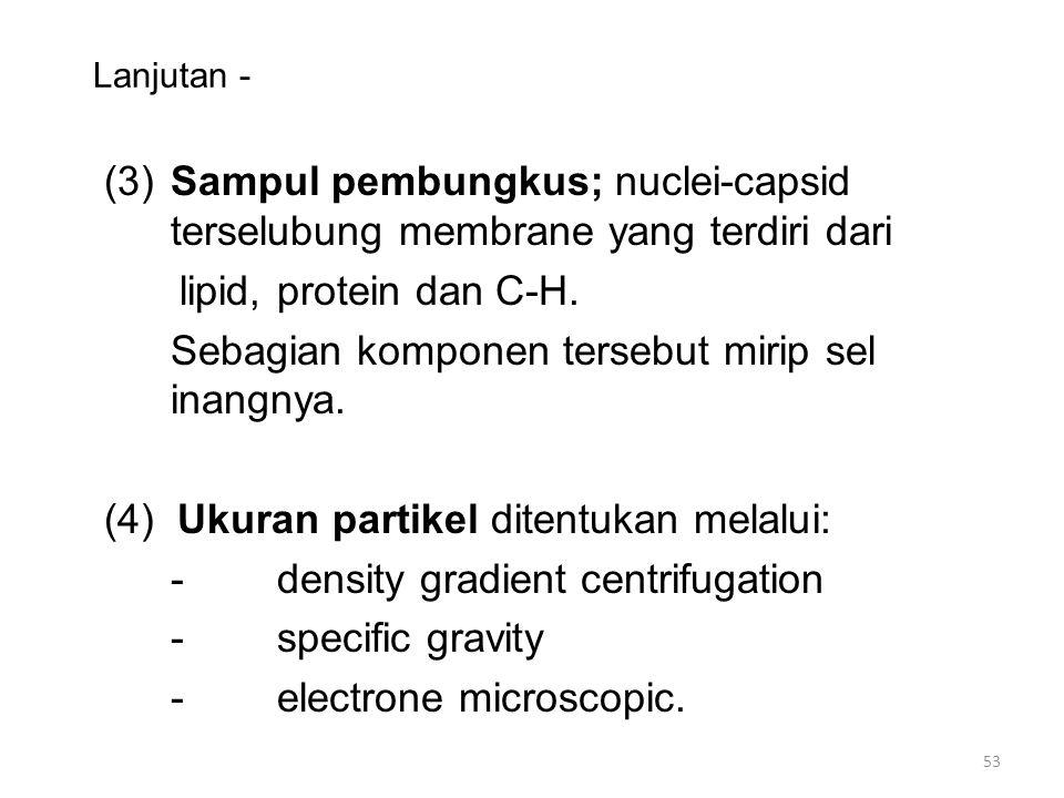 Lanjutan - (3)Sampul pembungkus; nuclei-capsid terselubung membrane yang terdiri dari lipid, protein dan C-H. Sebagian komponen tersebut mirip sel ina