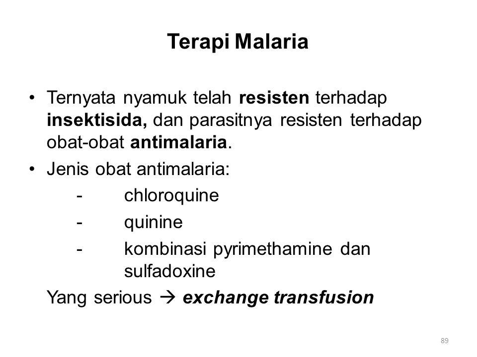 Terapi Malaria Ternyata nyamuk telah resisten terhadap insektisida, dan parasitnya resisten terhadap obat-obat antimalaria. Jenis obat antimalaria: -c