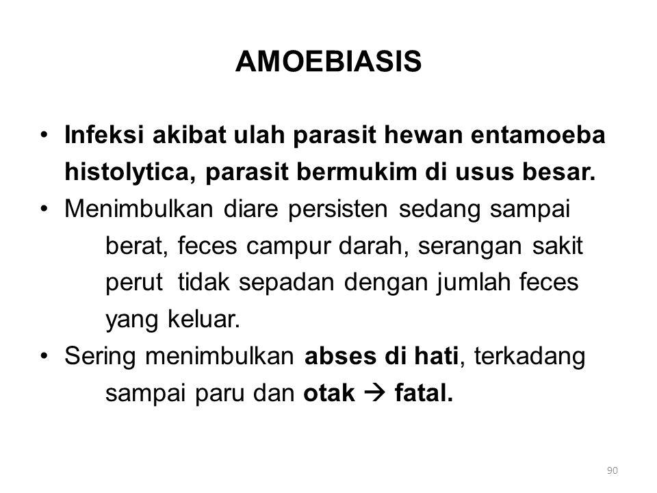 AMOEBIASIS Infeksi akibat ulah parasit hewan entamoeba histolytica, parasit bermukim di usus besar. Menimbulkan diare persisten sedang sampai berat, f